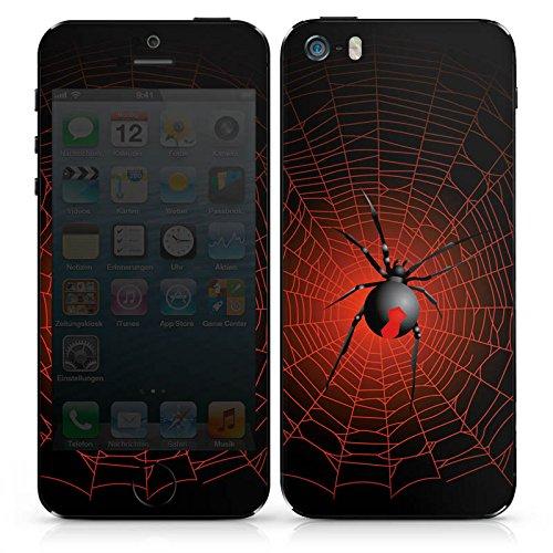 Apple iPhone SE Case Skin Sticker aus Vinyl-Folie Aufkleber Spinne Netz Schwarze Witwe DesignSkins® glänzend
