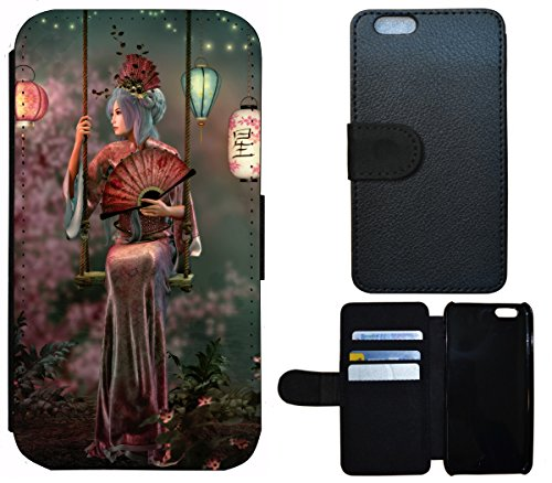 Flip Cover Schutz Hülle Handy Tasche Etui Case für (Apple iPhone 4 / 4s, 1370 Elefant Afrika Natur Grau Tier) 1379 Frau Japan Asien Geisha Animiert
