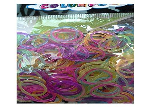 Lotto di 300 elastici in silicone fosforescente Trans, multi-colore, fermagli %2F 12 1 gancio per Rainbow Loom Bands