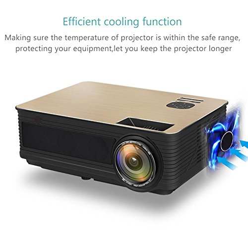 3000 Lumens LED Video Projector  LCD Technology Support 1080P Portable Mini Multimedia Projector Supports 1080P Full HD  HDMI  VGA  USB x 2  SD  AV and Headphone Interface  with AV Cable