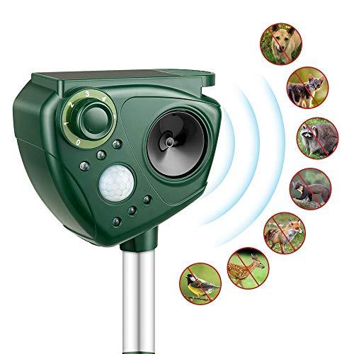 Repelente de Gatos, Kaifire Solar Ahuyentador Ultrasónico para Animales, con LED Espantar Ratones Perros Gatos Pájaros Zorros Uso para Exterior y Jardín Impermeable