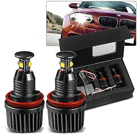 LED Engel Eyes Birne 2 x H8 LED Auto Scheinwerfer 40W 24V BMW Angel Eyes Fahrzeugscheinwerfer 360-Grad Halo Birne Licht Lampe 6000K Xenon Weiß für BMW E92 E81 E82 E87 E88 Serie X1 / X3 / X5 / X6 / Z4 / M3 / 320/325 [Energieklasse A++]