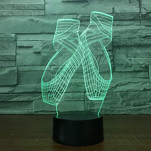Jinson well 3D ballett schuhe Lampe optische Illusion Nachtlicht, 7 Farbwechsel Touch Switch Tisch Schreibtisch Dekoration Lampen perfekte Weihnachtsgeschenk mit Acryl Flat Base USB Spielzeug