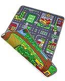 Ondis24 Kinder Spielteppich groß, Kinderteppich Straße & Bauernhof Design, Maße 120x80 cm, zweiseitig, für Kinderzimmer
