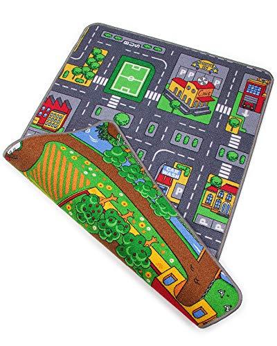 Ondis24 Kinder Spielteppich groß, Kinderteppich Straße & Bauernhof Design, Maße 80x120 cm, zweiseitig, für Kinderzimmer