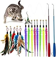 ALTcompluser Cat toys,Feather Teaser Cat Toys 2 Retractable Cat Stick Toys and 12 Replacement Push-pull Toys c