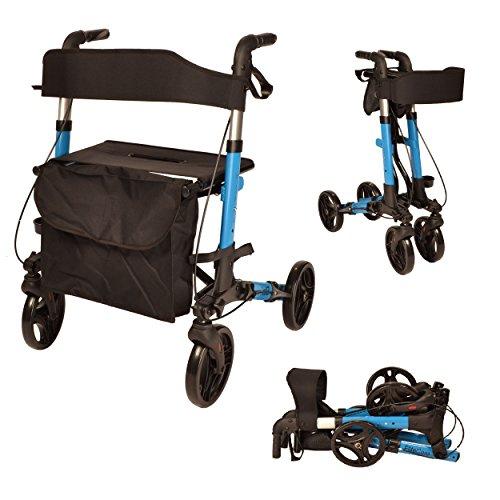 X Cruise Klapp leichte, kompakte Rollator mit Sitz und Tasche (Blau)