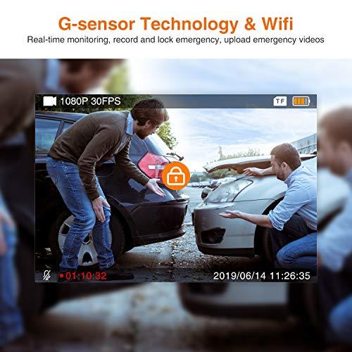 51Cgc8s%2BPjL - Thieye Cámara de Coche WiFi Dash CAM 1080P Full HD 170 Ángulo con WDR G-Sensor, Detección de Movimiento, Grabación en Bucle, Visión Nocturna, Monitor de Aparcamiente
