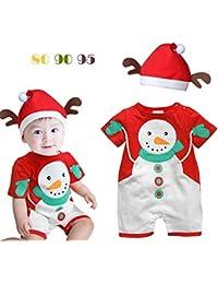 Juleya Navidad Unisex Ropa de bebé Jumpersuit Manga Corta Mamelucos Rojos de la Navidad Sombrero Juego Traje de algodón