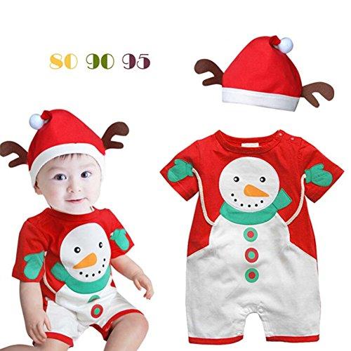 Unisex Baby Weihnachten Outfit - Weihnachten Set Jungen Mädchen Kurzen Ärmeln Schneemann Cosplay Kostüm Strampler Hut 2PCS Yying