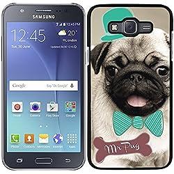 Funda carcasa para Samsung Galaxy J7 2016 dibujo perro pug carlino con pajarita y sombrero borde negro