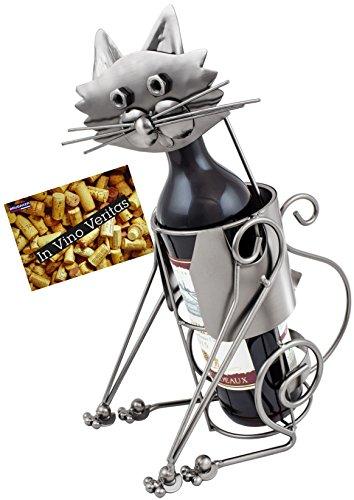 Brubaker portabottiglie con Gatto Bottiglia Supporto Oggetto Decorativo Metallo con Biglietto d' Auguri per Vino Regalo