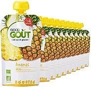 Good Goût - BIO - Gourde de Purée de Fruits à l'Ananas dès 4 Mois 120 g - Pack d