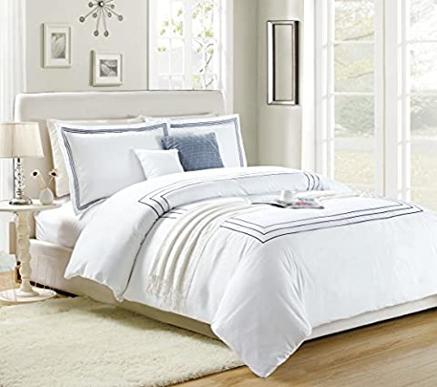 Imperial Rooms Super Soft Brushed Microfiber Duvet Cover & Pillow Cases Bed Set,Quilt Covers Single Double King Size (King, Navy Embroidered)