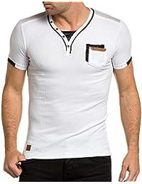 BLZ jeans - Tee-shirt côtelé blanc col V homme