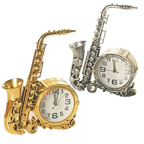 TrAdE shop Traesio Uhr Wecker Tisch Form Sax Saxophon Musik Analog Alarm Haus Büro