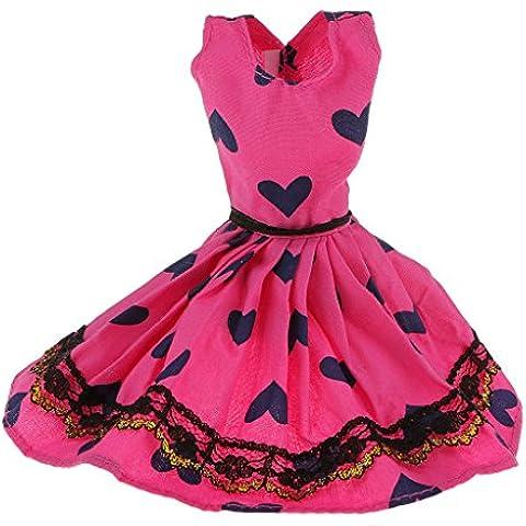Vestido sin Mangas en Forma de Corazón Impreso para Muñecas Barbie