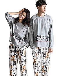 182d2b75a8 Oneworld Damen Herren Liebespaar 100% Baumwolle Pyjamas Set Zweiteiliger  Schlafanzug Hausanzug Nachthemd Langarm Von…