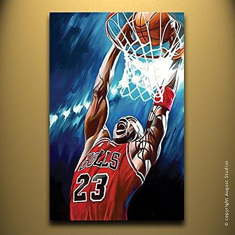 NBA Michael Jordan originale Artista firmato pittura poster Stampa Su Tela # 1, Tela, 14