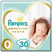 Pampers Premium care Diapers, Size 0, Newborn, < 2,5 kg, Carry Pack, 30 Co