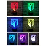 FC Club Atlético de Madrid Luz nocturna LED Ilusión 3D para niños La Liga Soccer Logo Atletico Night Lamp Table Bedside