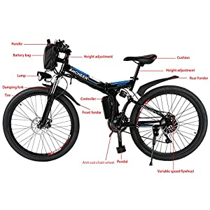 Ancheer Electric Mountain Bike, 26 inch Folding E-bike with Super Lightweight Magnesium Alloy 6 Spokes Integrated Wheel, Large Capacity Lithium-Ion Battery and Battery Charger, Premium Full Suspension and Shimano Gear by Ancheer