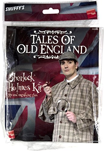 Smiffys Herren Sherlock Holmes Set, Kostüm Pfeife und Lupe, One Size, Schwarz, 30370 (Sherlock Holmes Kostüm Halloween)