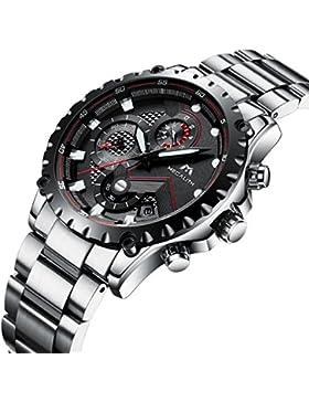 [Gesponsert]Herren Silber Edelstahl Uhren Männer Militär Chronographen Sport Wasserdicht Datum Kalender Luxus Armbanduhr Einzigartig...
