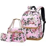 MORGLOVE Blumen Schulrucksack Mädchen Teenager Canvas Freizeit Groß Damen Rucksack (Pink- Set 3)