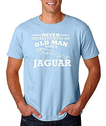 Jaguar Never underestimate an old man with a Jaguar Tiger Mens T Shirts White Light Blue 2XL To Fit Chest 46-48
