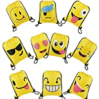 Cute Emoji Cartoon Drawstring Backpack Bags for Kids Girls and Boys 10 Pack, Gift Treat Goody Birthday Party Favor Bags