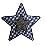 Blau Karo Stern 9X9cm Aufbügler flicken Aufnäher Bügelbild Stoff Patch Kleider zum Bügeln auf Jacke Kissen Türschild Dec