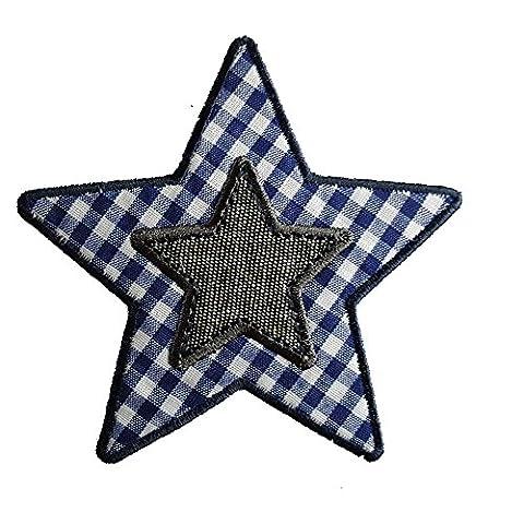 2 Ecussons patch appliques Vichy Étoile Bleue 9X9Cm Ancre 5X5Cm