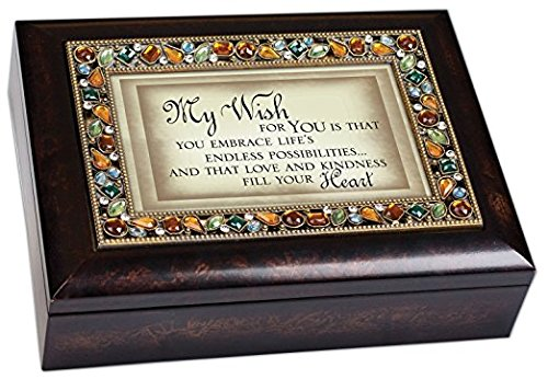 My Wish for You Inspirational Italian Style Burlwood Finish Decorative Jewel Lid Musical Music Jewelry Box - Plays Edelweiss by Cottage - Schmuck-box Musikalische