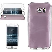 Urcover® Samsung Galaxy S6 Edge | Funda Carcasa 360 Grados Ultra Slim Metálico | TPU en Oro Rosa | Case Cover Protección completa Smartphone Móvil Accesorio