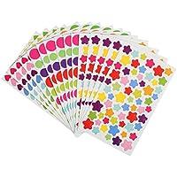Kesoto 72 Hojas de Pegatinas Decorativas de Colores en 3 Formas de Estrellas, Corazón y Punto, Perfecto para álbum de recortes, álbum de fotos y bricolaje