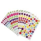 Kesote Bunte Aufkleber Selbstklebend Sticker für Kinder, Stern + Herz + Rund (72 Blätter, ca. 4800 Stück)