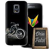 mobilefox® Eigenes Motorrad Handyhülle Personalisiertes Geschenk dünne Silikon TPU Case Foto Motiv für Samsung Galaxy S5 Mini Ohne Text