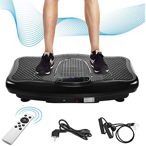 Merax Vibrationsplatte Vibrationstrainer Profi, 2D Wipp Vibration + Bluetooth inkl. Lautsprecher, Extra große Fläche & Kraftvoller Motor & Trainingsbänder & Fernbedienung im Fitnessgerät (schwarz) -