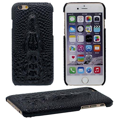 Schutzhülle für iPhone 6S Plus Hülle, PU Leder Case Krokodil Relief Serie Verschiedene Farbe Dünn Slim Leicht Handyhülle Hardcase für Apple iPhone 6 Plus / 6S Plus 5.5 inch schwarz