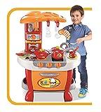 Vinsani Children Kids Red & Orange Light & Sound Kitchen Food Cooking Little Chef Pretend Role Play Set