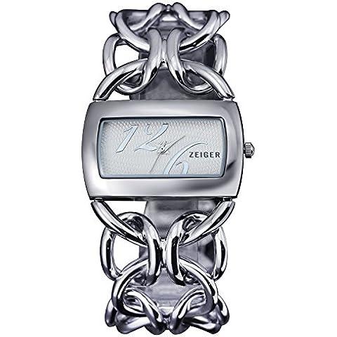 Zeiger Orologio Donna orologi Gemelli decorativo orologio orologi da donna, placcato oro 14K W336 Argento