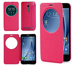 ISIN Housse pour Téléphones Portables Série Étui Premium PU pour ASUS Zenfone 2 ZE551ML ZE550ML de 5.5 pouces Full HD Android Smartphone (Rouge)