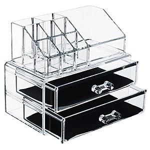 DECO EXPRESS Gioielli trucco di lusso Cosmetici Organizzatore 2 livello di trucco Organizzatore Display Vanity Case Stand