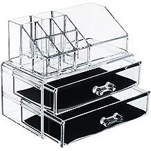 Organizer con cassetti per trucchi, gioielli e cosmetici a 2piani in acrilico trasparente, extra spessore, espositore di smalto per unghie, multifunzione,12sezioni (di medie dimensioni)