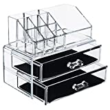 Premium Make-up and Jewellery Cosmetic Organiser | 2 Tier Clear Acrylic Make-up Organizer with Draws - Extra Thick Acrylic Make up Box - Makeup Organizer bag Cosmetic Storage Multifunction - Make up Nail Varnish Display Stand - 12 Sections (medium size)