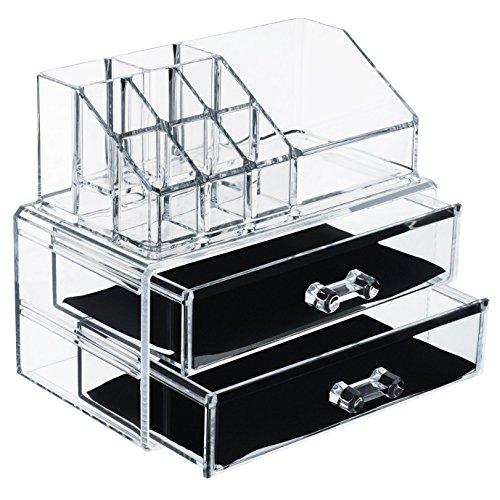 Mallette multifonctionnelle de maquillage et bijoux, avec deux étages divisés en 12 compartiments, de grande qualité, en acrylique transparent très épais (taille moyenne)