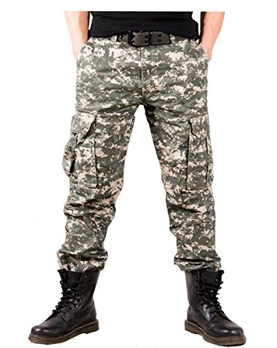 012765Tastschalter Herren 100% Baumwolle Outdoor Camouflage Hose Cargo Militär Hose Gr. 50 (Taille:90cm /35,4),  - 2 (Shorts Military Camo Woodland)