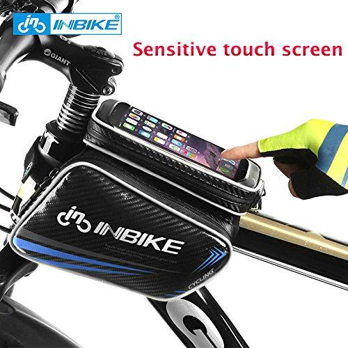INBIKE Touch Screen Front Mountainbike, Fahrrad-Tasche mit Top Tube Bag Wasserdichte Fahrrad Sattel Handy-Tasche, Blau, Large - Top-touchscreen-handys
