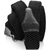 Decalen Mens Braces with Very Strong Clips Heavy Duty Suspenders One Size Fits All Wide Adjustable and Elastic Y Style (Black)